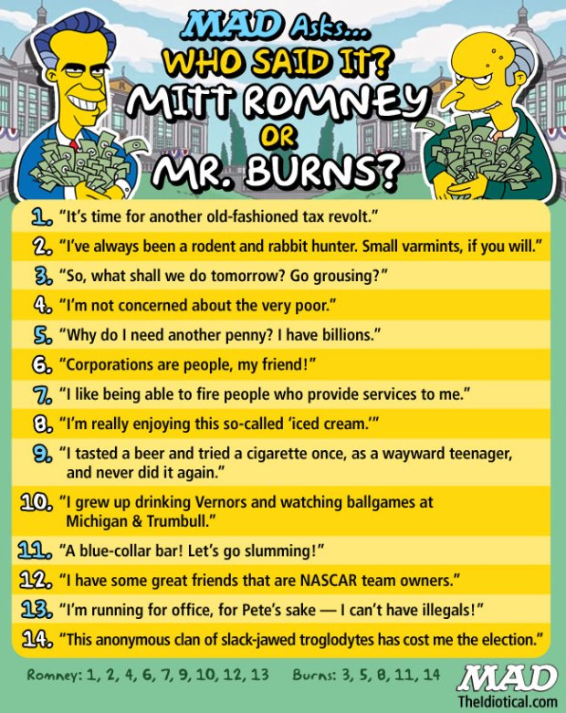 Mad Mag Romney vs Burns